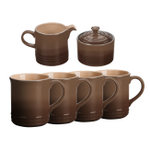 Le Creuset Truffle Stoneware 6 Piece Coffee or Tea Service Set with Mugs and Cream & Sugar Set