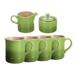 Le Creuset Palm Stoneware 6 Piece Coffee or Tea Service Set with Mugs and Cream & Sugar Set