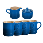Le Creuset Marseille Blue Stoneware 6 Piece Coffee or Tea Service Set with Mugs and Cream & Sugar Set