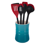 Le Creuset Caribbean Stoneware 1 Quart Utensil Crock with Revolution Cherry Utensil Set