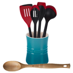 Le Creuset Caribbean Stoneware 1 Quart Utensil Crock with Revolution Cherry and Beechwood Utensil Set