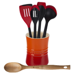 Le Creuset Flame Stoneware 1 Quart Utensil Crock with Revolution Cherry and Beechwood Utensil Set