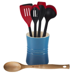 Le Creuset Marseille Blue Stoneware 1 Quart Utensil Crock with Revolution Cherry and Beechwood Utensil Set