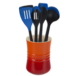 Le Creuset Flame Stoneware 1 Quart Utensil Crock with Revolution Marseille Blue Utensil Set