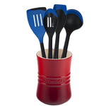 Le Creuset Cherry Stoneware 1 Quart Utensil Crock with Revolution Marseille Blue Utensil Set