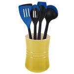 Le Creuset Soleil Yellow Stoneware 1 Quart Utensil Crock with Revolution Marseille Blue Utensil Set