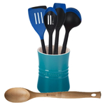 Le Creuset Caribbean Stoneware 1 Quart Utensil Crock with Revolution Marseille Blue and Beechwood Utensil Set