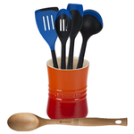Le Creuset Flame Stoneware 1 Quart Utensil Crock with Revolution Marseille Blue and Beechwood Utensil Set