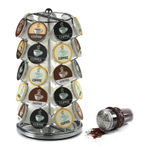 Nifty Home Products Chrome 35 Pod K-Cup Carousel with Brown 8 Ounce Cocoa Powder Shaker