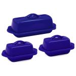 Chantal Indigo Blue Stoneware 3 Piece Traditional and Mini Butter Dish Set