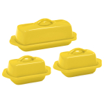 Chantal Canary Yellow Stoneware 3 Piece Traditional and Mini Butter Dish Set