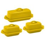 Chantal Canary Yellow Stoneware 3 Piece Traditional and Mini Butter Dish Set