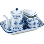 Asian Blue Dragon Porcelain 3 Piece Vinegar Set
