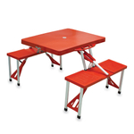 Picnic Time Red Portable Folding Table With Seats