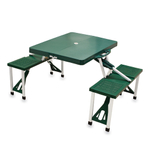 Picnic Time Hunter Green Portable Folding Table With Seats