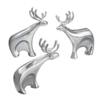 Nambe Holiday Metal Alloy Dasher Reindeer, Set of 3