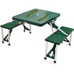 Picnic Time Green Aluminum Baylor University Bears Portable Folding Table with Seats