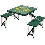 Picnic Time Green Aluminum University of Oregon Ducks Portable Folding Table with Seats