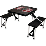 Picnic Time Black Aluminum Mississippi State Bulldogs Portable Folding Table with Seats
