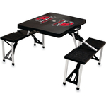 Picnic Time Black Aluminum Miami University Red Hawks Portable Folding Table with Seats