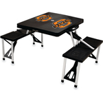 Picnic Time Black Aluminum Oklahoma State Cowboys Portable Folding Table with Seats