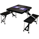 Picnic Time Black Aluminum Northwestern University Wildcats Portable Folding Table with Seats