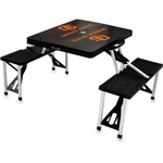 Picnic Time Black Aluminum Oregon State Beavers Folding Table with Seats