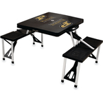 Picnic Time Purdue University Boilermakers Black Portable Folding Table with Seats
