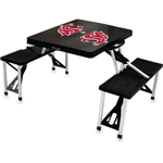 Picnic Time Washington State Cougars Black Portable Folding Table with Seats