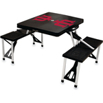 Picnic Time Indiana University Hoosiers Black Portable Folding Table with Seats