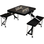 Picnic Time US Military Academy Black Portable Folding Table with Seats