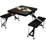Picnic Time Appalachian State Mountaineers Black Portable Folding Table with Seats