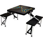 Picnic Time West Virginia University Mountaineers Black Portable Folding Table with Seats