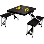 Picnic Time Black University Of Iowa Hawkeyes Portable Folding Table with Seats