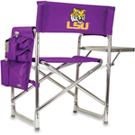 Picnic Time Purple Digital Print LSU Tigers Aluminum Sports Chair