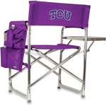 Picnic Time Purple Digital Print Texas Christian University Horned Frogs Aluminum Sports Chair