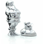 Nambe Holiday Alloy Santa Figurine with Gift Bag