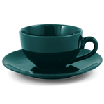 Metropolitan Tea Green Ceramic Teacup and Saucer Set