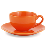 Metropolitan Tea Orange Ceramic Teacup and Saucer Set