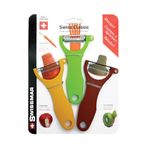 Swissmar Swiss 3-Piece Brown, Green, and Yellow Trio Peeler Set