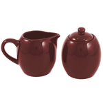 Burgundy Ceramic Creamer and Sugar Service Set with Lid