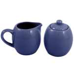 Blue Ceramic Creamer and Sugar Service Set with Lid