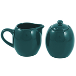 Green Ceramic Creamer and Sugar Service Set with Lid
