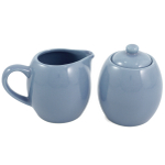 Powder Blue Ceramic Creamer and Sugar Service Set with Lid