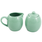 Seafoam Green Ceramic Creamer and Sugar Service Set with Lid