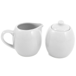 White Ceramic Creamer and Sugar Service Set with Lid