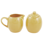 Sahara Sand Ceramic Creamer and Sugar Service Set with Lid