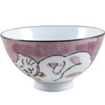 Porcelain Sleeping Kitty Cat Pink Asian Rice Bowl, Set of 6