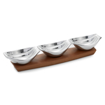 Nambe Drift Wood and Stainless Steel Condiment Server Set