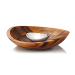 Nambe Braid Alloy and Wood Chip & Dip Set